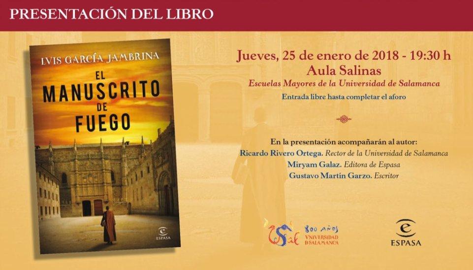 Escuelas Mayores El manuscrito de fuego Salamanca Enero 2018