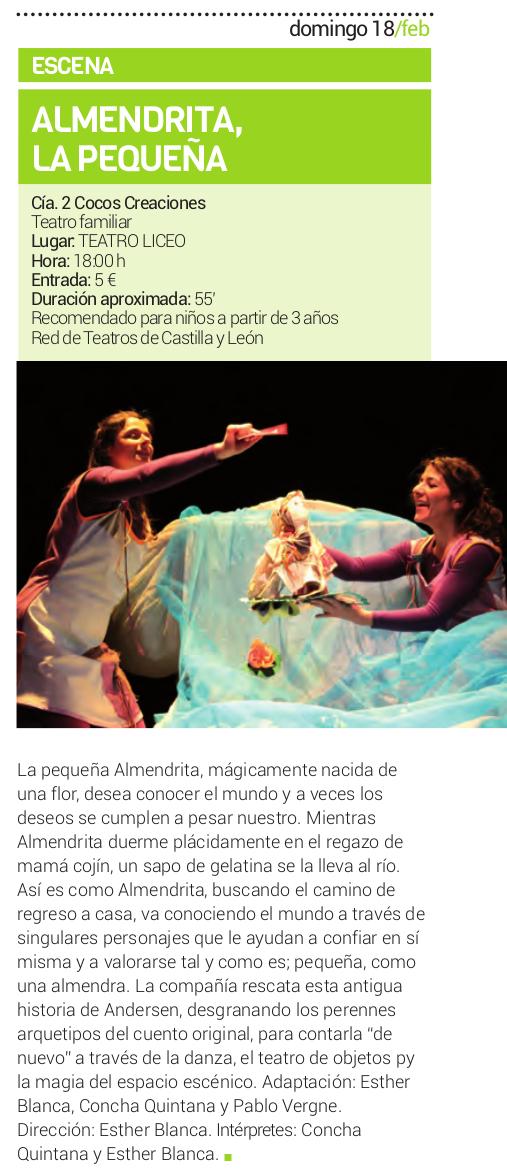 Teatro Liceo Almendrita la pequeña Salamanca Febrero 2018
