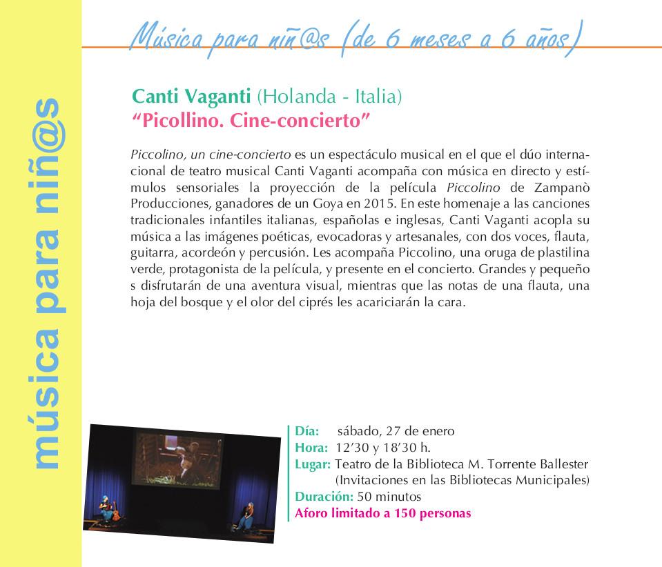 Torrente Ballester Canti Vaganti Picollino. Cine-concierto Salamanca Enero 2018