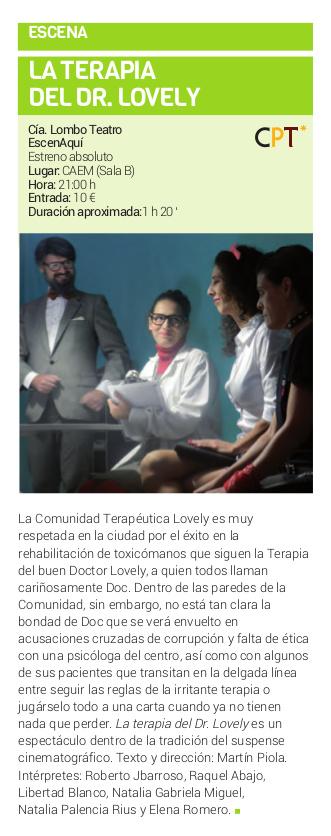 Centro de las Artes Escénicas y de la Música CAEM Lombó Teatro La terapia del doctor Lovely Salamanca Febrero 2018