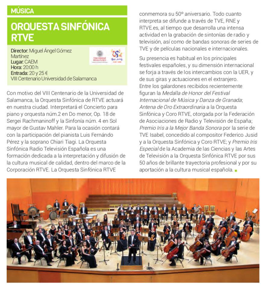 Centro de las Artes Escénicas y de la Música CAEM Orquesta Sinfónica RTVE Salamanca Febrero 2018