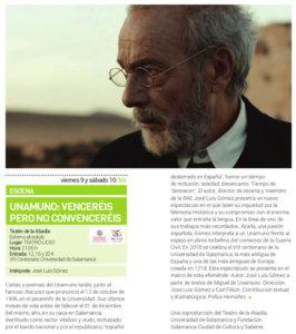 Teatro Liceo Teatro La Abadía Unamuno: Venceréis pero no convenceréis Salamanca Febrero 2018