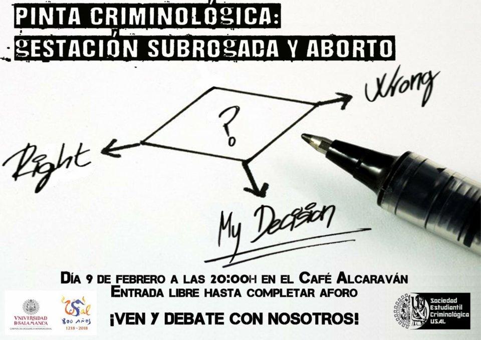 El Alcaraván Pinta Criminológica Gestación subrogada y aborto Salamanca Febrero 2018