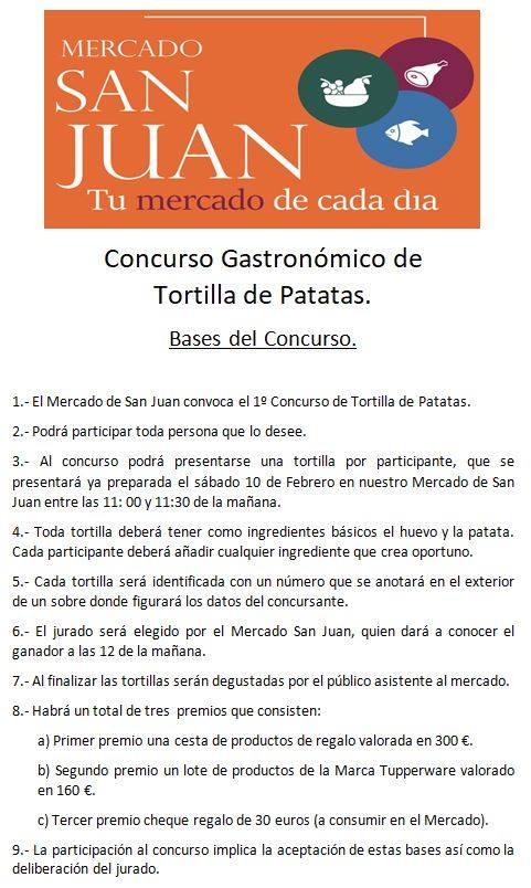 Bases Mercado de San Juan I Concurso Gastronómico de Tortilla de Patatas Salamanca Febrero 2018