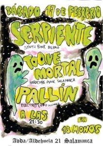 Trece Monos Serpiente + Pallín + Toque Mortal Salamanca Febrero 2018