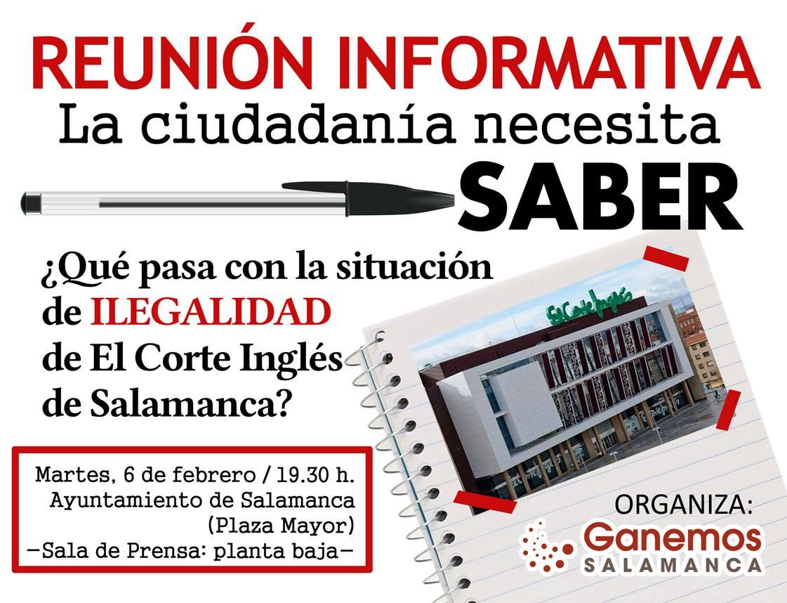 Casa Consistorial Ganemos Salamanca Qué pasa con la situación de ilegalidad de El Corte Inglés de Salamanca Febrero 2018