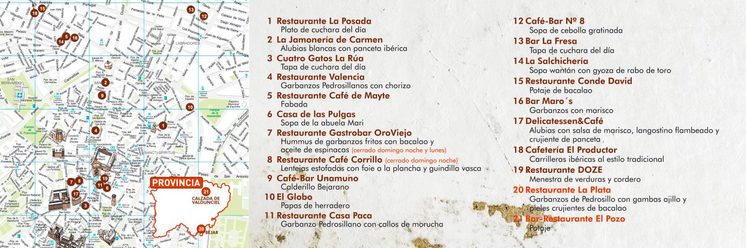 Mapa Salamanca Pincho de Cucharra Febrero 2018