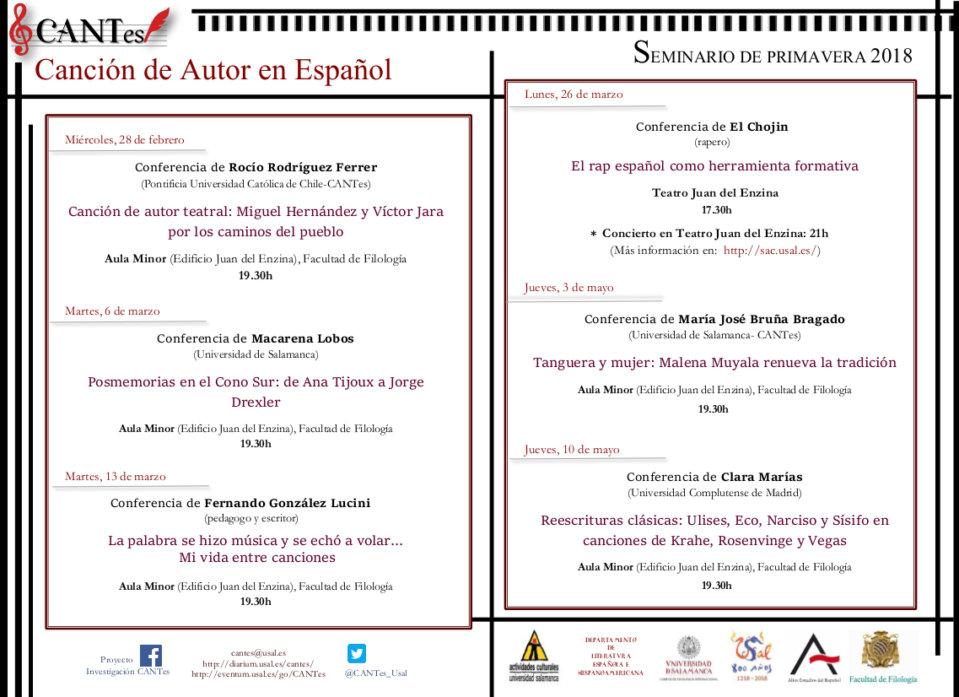 CANTes Canción de autor en español Salamanca Primavera 2018