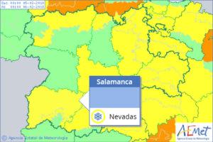 Este lunes 5 de febrero la nieve pone en alerta meterológica amarilla a Salamanca