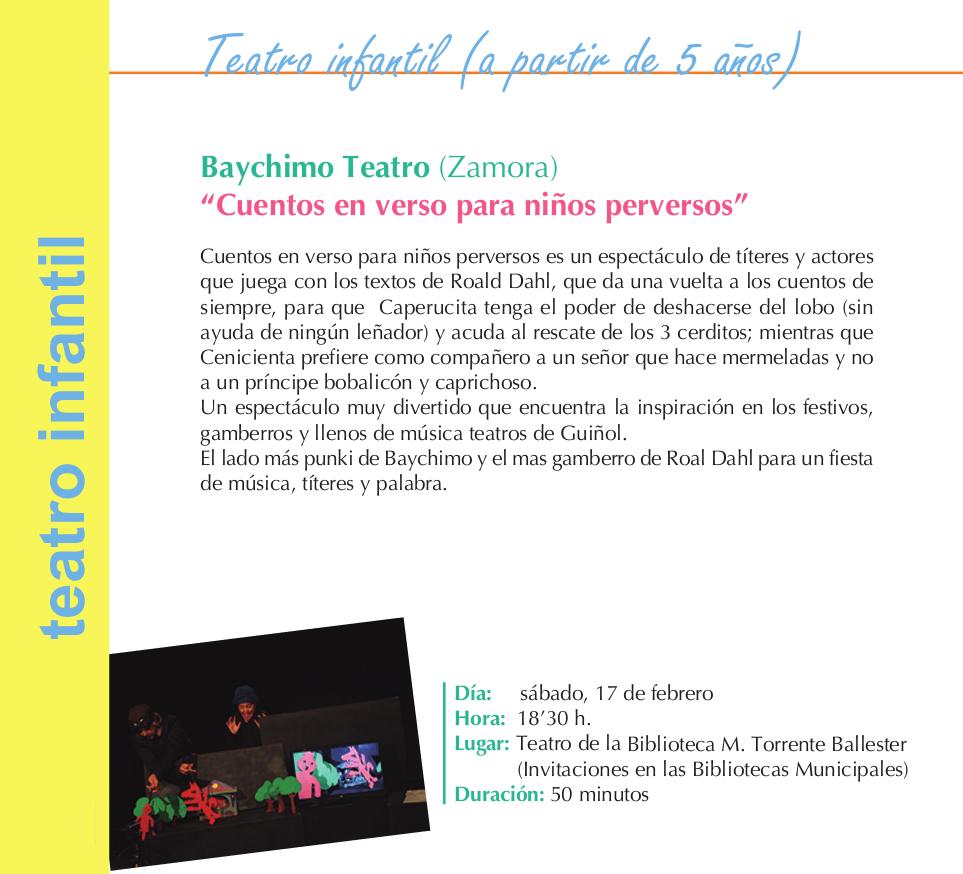 Torrente Ballester Baychimo Teatro Cuentos en verso para niños perversos Salamanca Febrero 2018