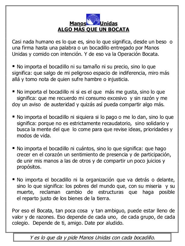 Manos Unidas Salamanca Operación Bocata 2018