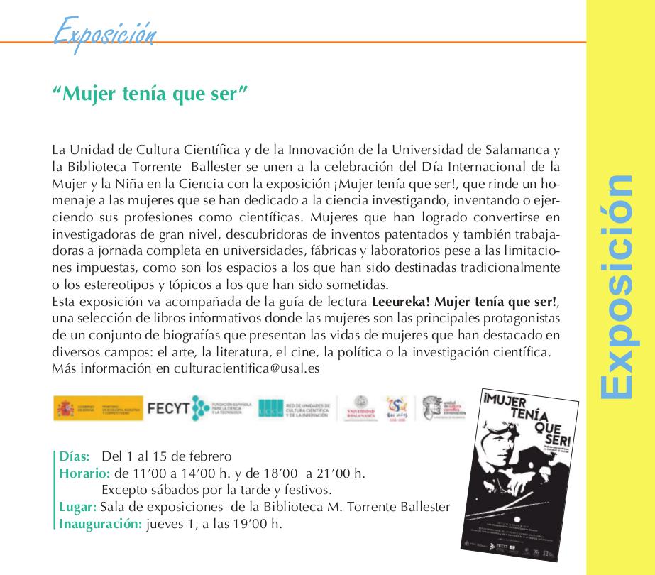 Torrente Ballester Mujer tenía que ser Universidad de Salamanca Febrero 2018