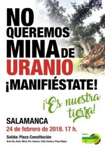 Manifestación No queremos mina de uranio Salamanca Febrero 2018