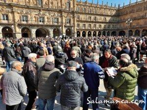 Plaza Mayor Concentración Por un Sistema Público de Pensiones Salamanca Febrero 2018