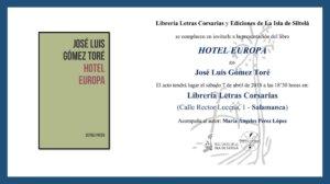 Letras Corsarias Hotel Europa Salamanca Abril 2018
