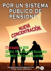 Plaza Mayor Concentración Por un Sistema Público de Pensiones Salamanca Marzo 2018