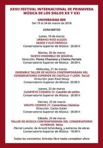 Conservatorio Superior de Música de Castilla y León COSCYL XXVII Festival Internacional de Primavera Salamanca Marzo 2018