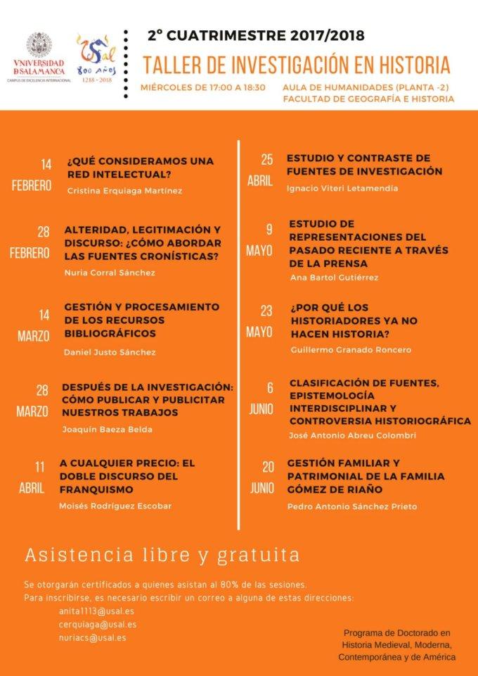 Taller de Investigación en Historia Universidad de Salamanca 2017-2018