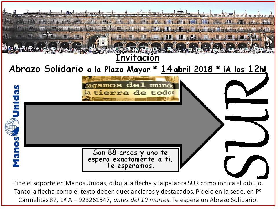 Plaza Mayor IX Abrazo a la Plaza Manos Unidas Salamanca Abril 2018
