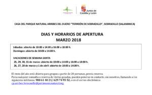 Horarios de marzo 2018 para el Torreón de Sobradillo