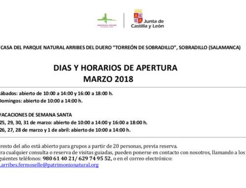 Horarios de marzo (2018) para el Torreón de Sobradillo.