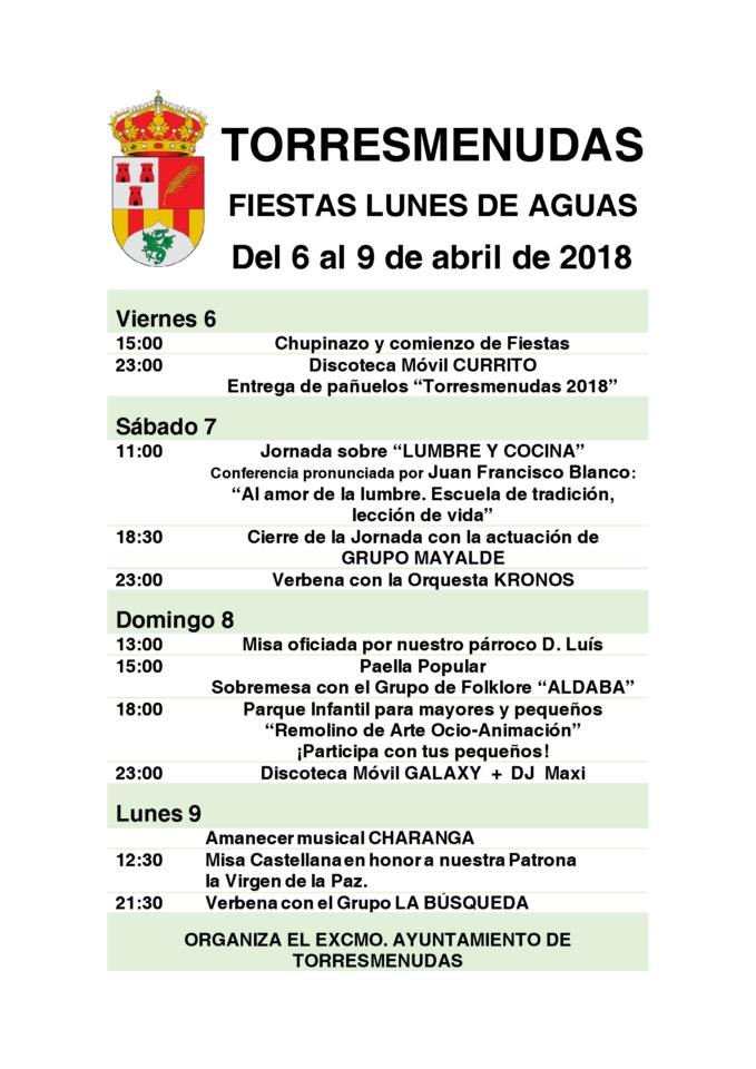 Torresmenudas Fiestas del Lunes de Aguas Abril 2018