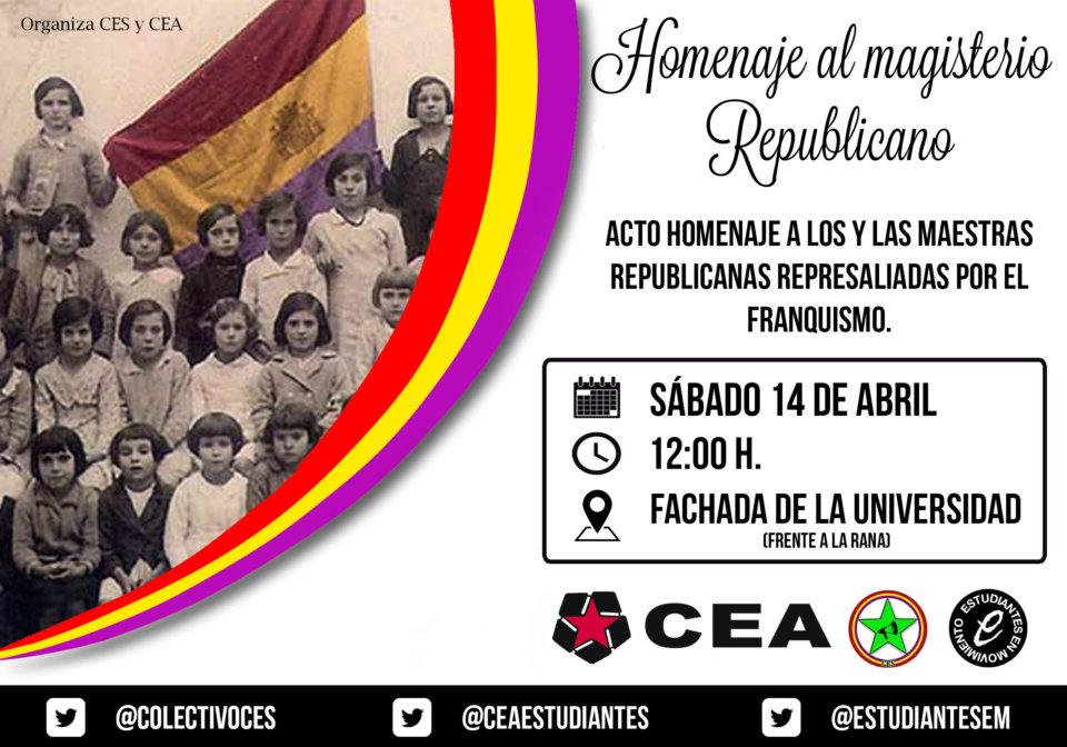 Escuelas Mayores Homenaje al Magisterio Republicano CEA Salamanca Abril 2018