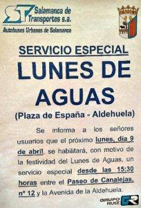 Servicio especial de autobuses para este Lunes de Aguas de 2018