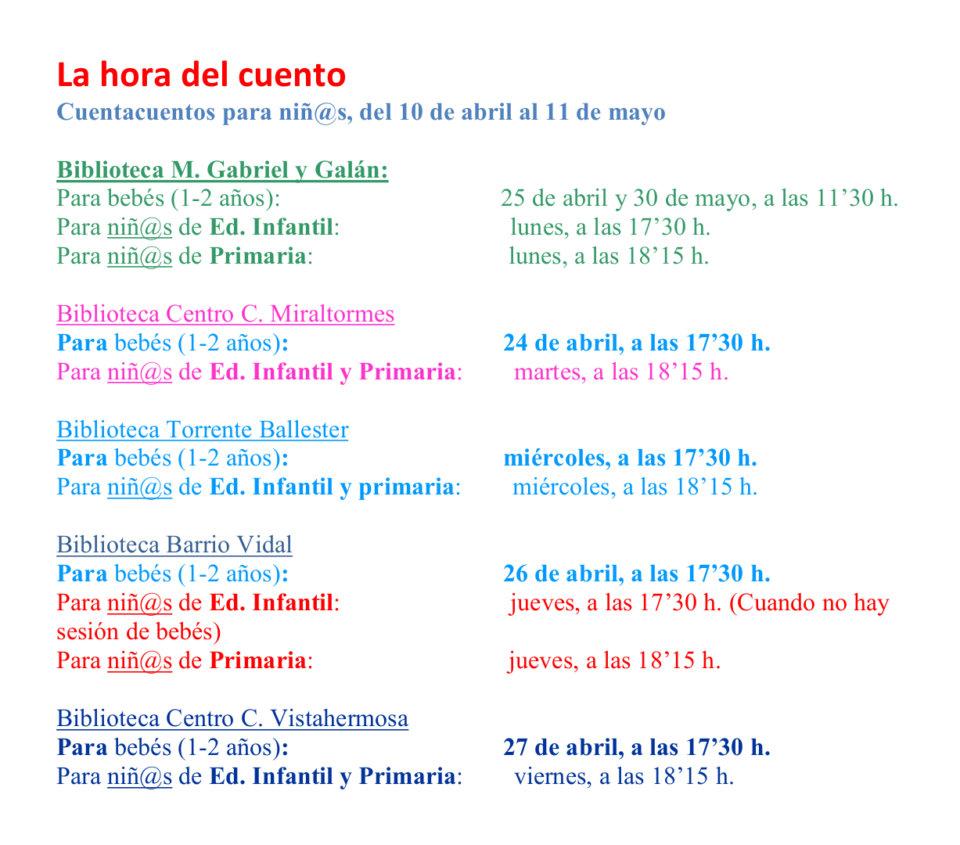 Salamanca La hora del cuento Abril mayo 2018