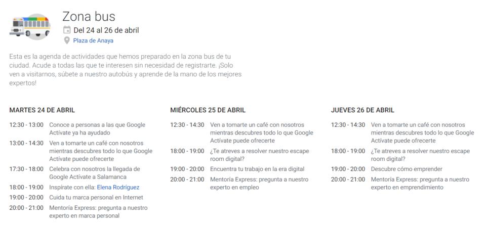 Plaza de Anaya Autobus de Google: Formación en marca personal y empleo Salamanca Abril 2018