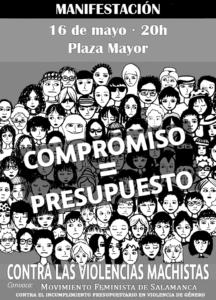 Plaza Mayor Manifestación Compromiso = Presupuesto Salamanca Mayo 2018