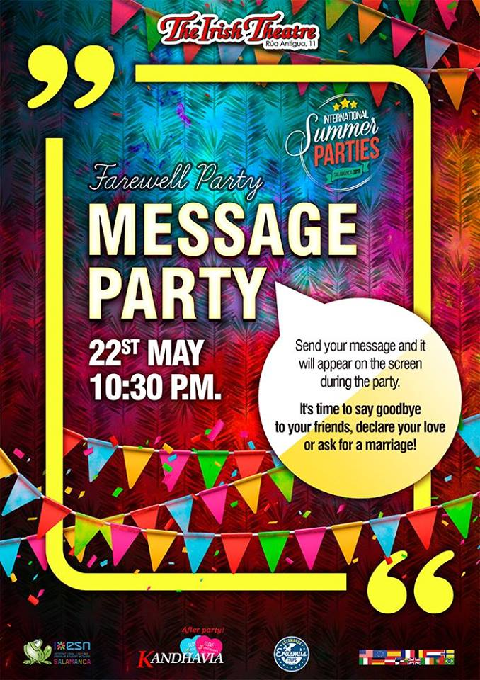 The Irish Theatre Farewell Party + Message Party Salamanca Mayo 2018
