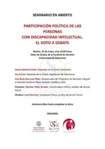 Facultad de Derecho Participación política de las personas con discapacidad intelectual. El voto a debate Universidad de Salamanca Mayo 2018.