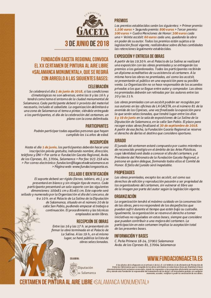 Salamanca XX Certamen de Pintura al Aire Libre Fundación Gaceta Junio 2018