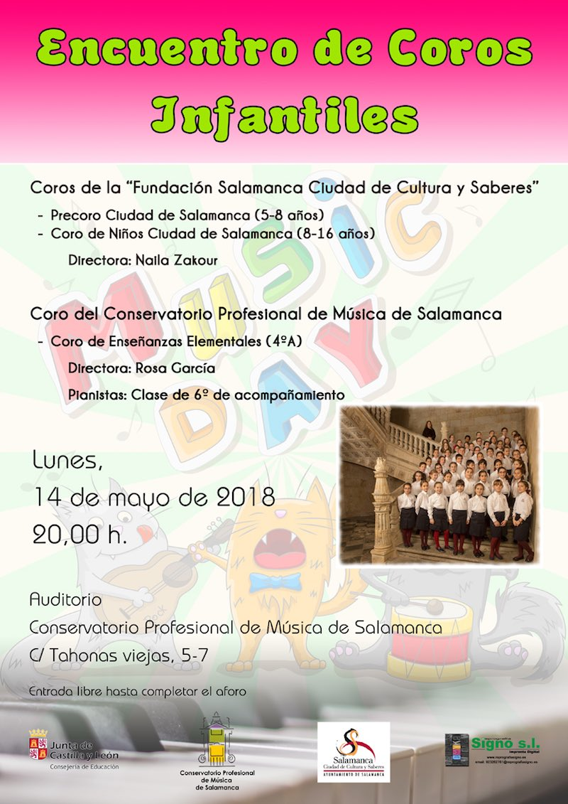 Conservatorio Profesional de Música de Salamanca Encuentro de Coros Infantiles Mayo 2018