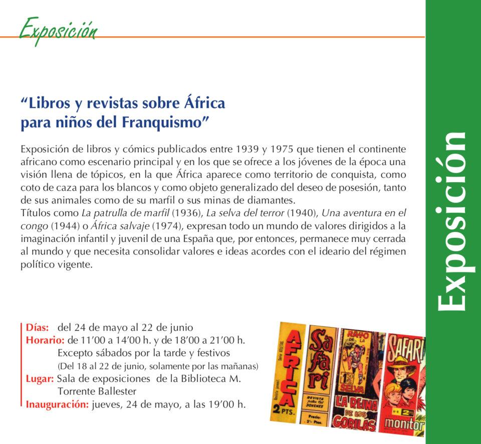 Torrente Ballester Libros y revistas sobre África para niños del Franquismo Salamanca Mayo junio 2018