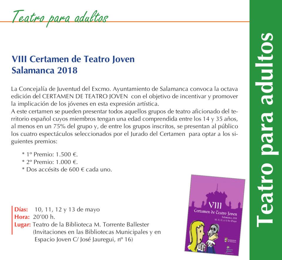 Torrente Ballester VIII Certamen de Teatro Joven Salamanca Mayo 2018