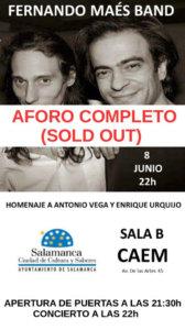 Centro de las Artes Escénicas y de la Música CAEM Fernando Maés Band Conciertos Sala B Salamanca Junio 2018