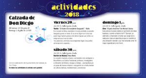 Calzada de Don Diego Noches de Cultura Junio julio 2018