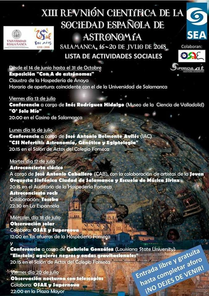 Salamanca XIII Reunión Científica SEA 2018 Programa Social