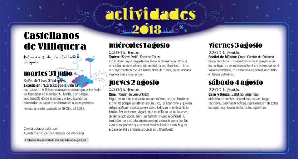 Castellanos de Villiquera Noches de Cultura Julio agosto 2018