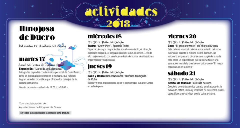 Hinojosa de Duero Noches de Cultura Julio 2018