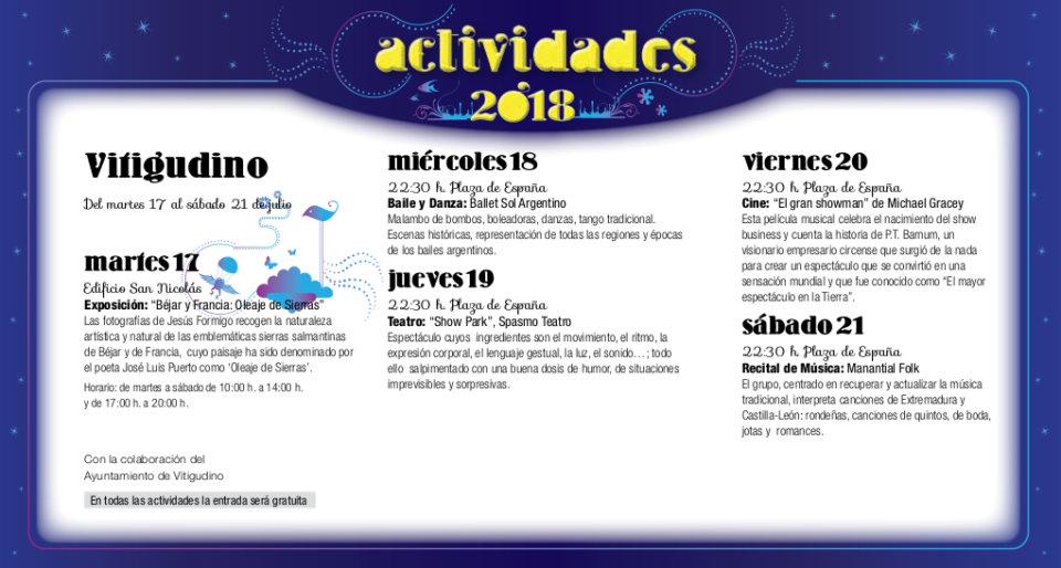 Vitigudino Noches de Cultura Julio 2018