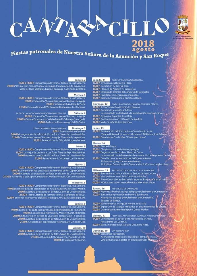 Cantaracillo Fiestas de Nuestra Señora de la Asunción y San Roque Agosto 2018
