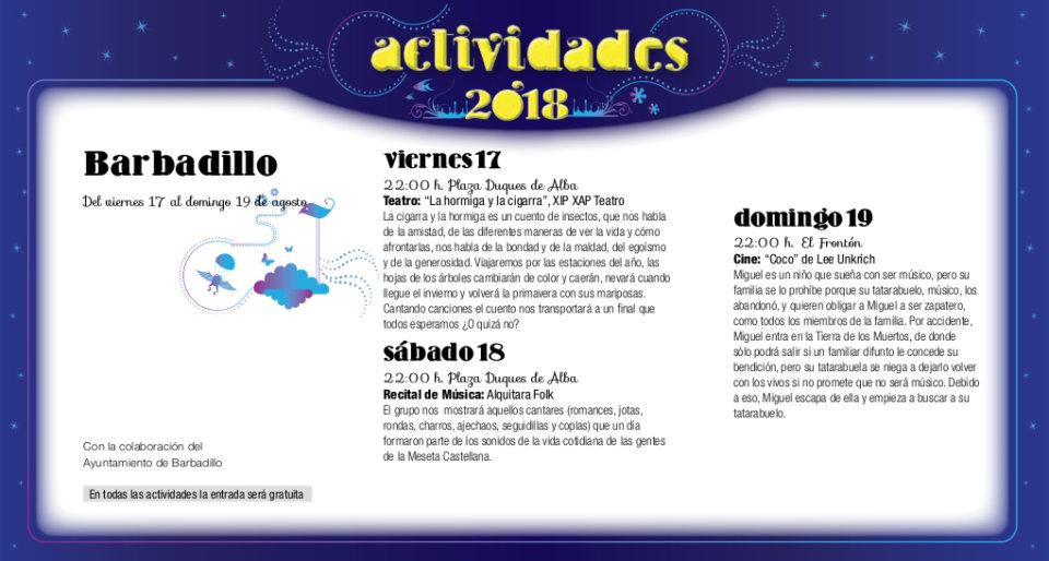 Barbadillo Noches de Cultura Agosto 2018