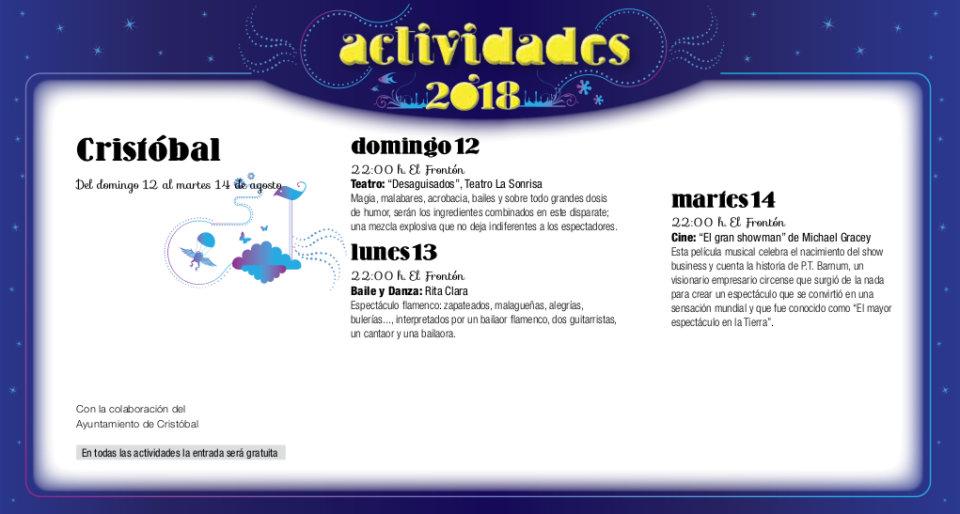 Cristóbal Noches de Cultura Agosto 2018