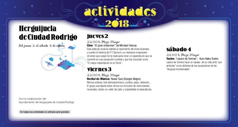 Herguijuela de Ciudad Rodrigo Noches de Cultura Agosto 2018