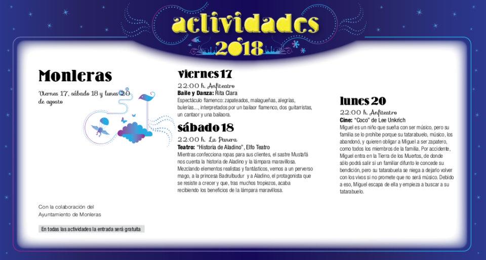 Monleras Noches de Cultura Agosto 2018