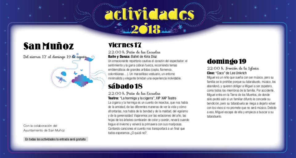 San Muñoz Noches de Cultura Agosto 2018
