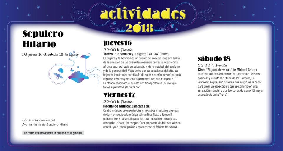 Sepulcro Hilario Noches de Cultura Agosto 2018
